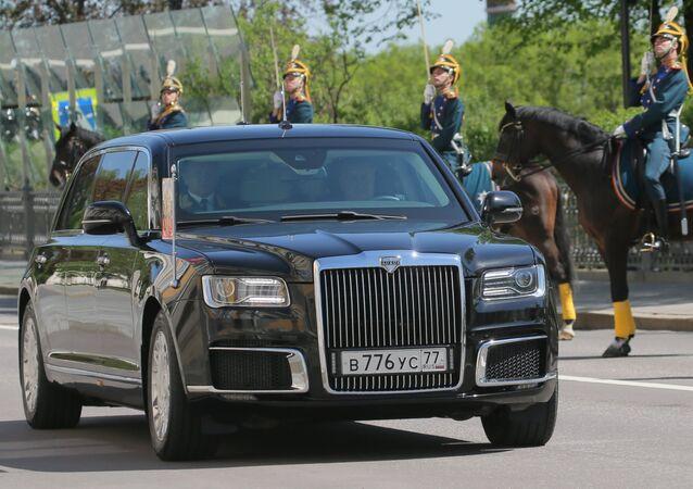 May 7, 2018. An Aurus car of the Russian president's motorcade