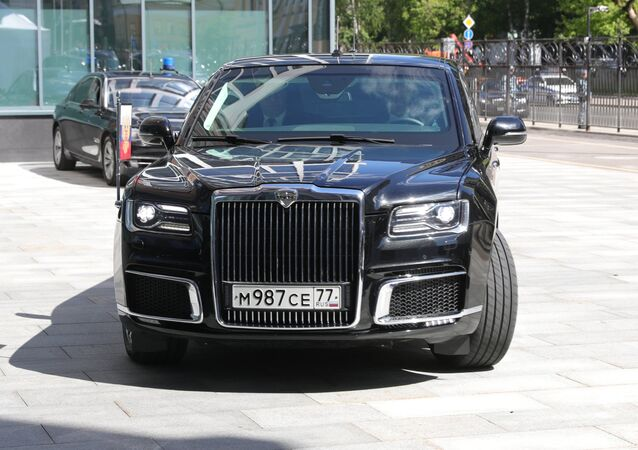 Russian President Vladimir Putin's Aurus vehicle is seen in the courtyard of Morozov Children's Hospital. File photo