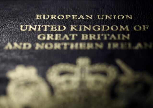 A close-up detail of the cover of a European Union British passport