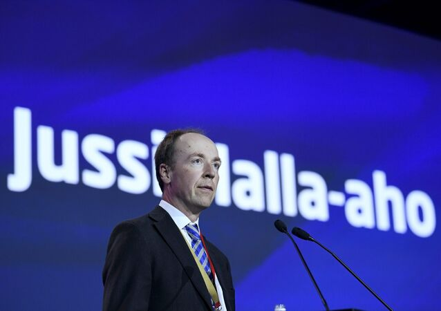 Newly-elected chairman of the Finns Party, Member of the European Parliament (MEP) Jussi Halla-aho delivers his speech at the Finns Party congress in Jyvaskyla, Finland on June 11, 2017