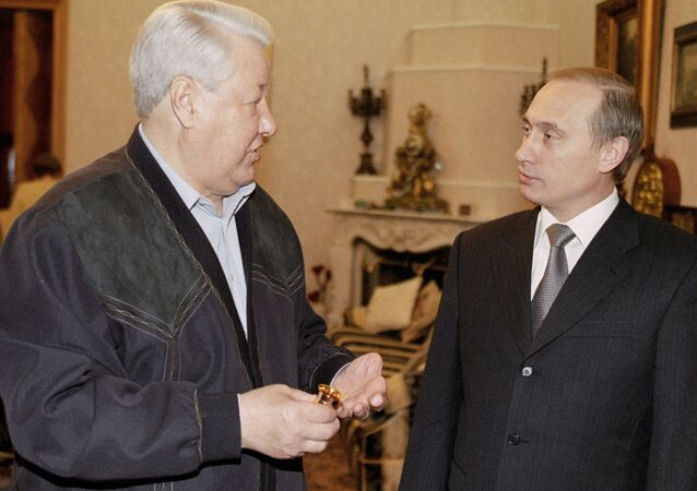 Acting President Vladimir Putin congratulating the first President of Russia Boris Yeltsin on his birthday