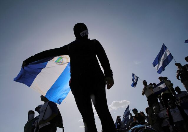 An anti-government protester in Managua