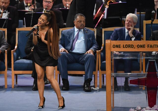 Ariana Grande performs during Aretha Franklin's funeral at Greater Grace Temple on August 31, 2018 in Detroit, Michigan.