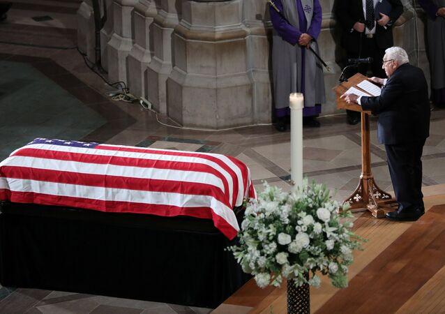 Former Secretary of State Henry Kissinger speaks at the memorial service of U.S. Senator John McCain (R-AZ) at National Cathedral in Washington, U.S., September 1, 2018.