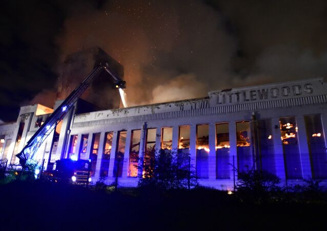 Firefighters battle a huge blaze at the Littlewoods Building in edge Lane, Liverpool, England, Sunday, Sept. 2, 2018