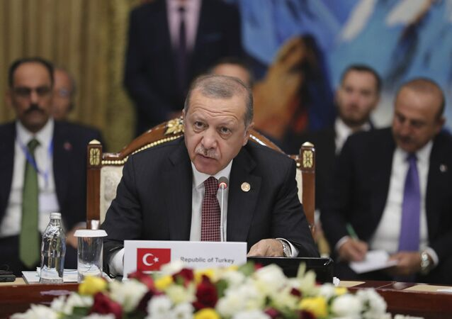 Turkish President Recep Tayyip Erdogan speaks during the during the Summit of The Cooperation Council of Turkish-Speaking States in Cholpon Ata, Kyrgyzstan, Sept. 3, 2018