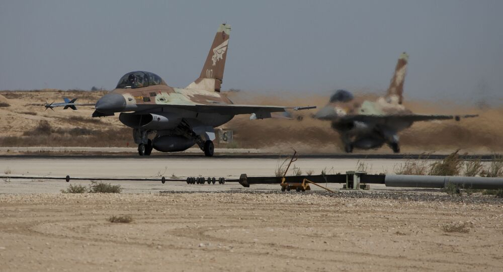 Israeli F-16a warplanes take off at the Nevatim air force base (File)