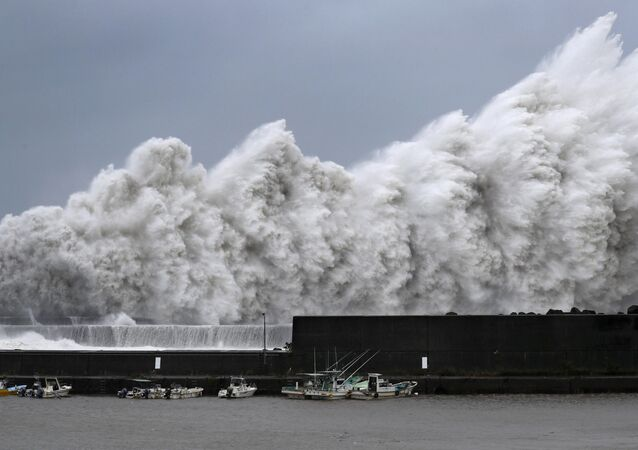 High waves triggered by Typhoon Jebi are seen at a fishing port in Aki, Kochi Prefecture, western Japan, in this photo taken by Kyodo September 4, 2018