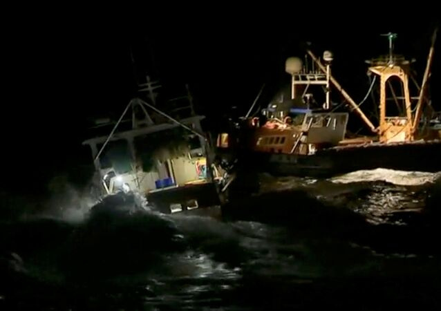 French and British fishing boats collide during scrap in English Channel over scallop fishing rights, August 28, 2018 in this still image taken from a video