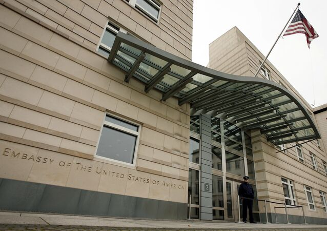 US flag flies at the main entrance of the US embassy in Berlin (File)
