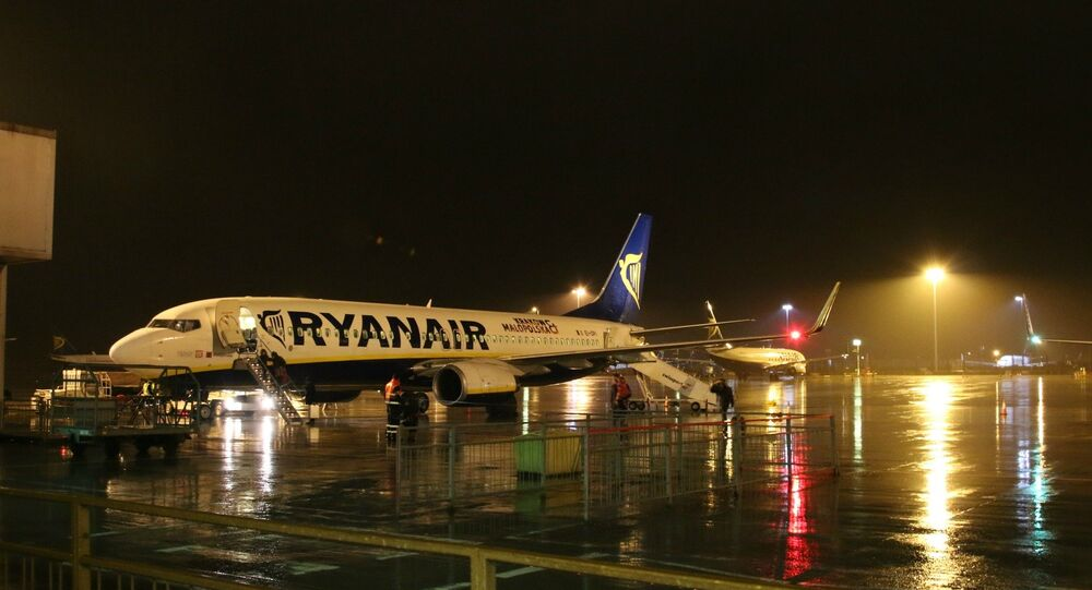 Ryanair airplane at Stansted airport, London