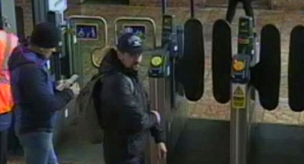 This still taken from CCTV and issued by the Metropolitan Police in London on Wednesday Sept. 5, 2018, shows Ruslan Boshirov and Alexander Petrov at Salisbury train station on March 4, 2018