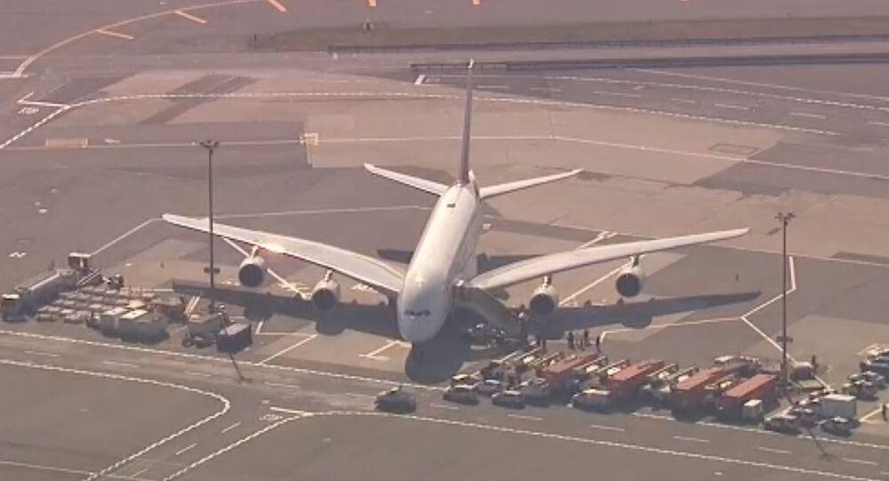 An Emirates A380 in quarantine at JFK Airport