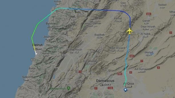 One plane's route showing that it passed over northern Lebanon after a brief layover in Damascus