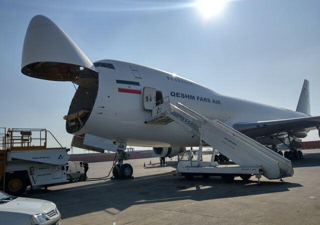 Fars Air Qeshm plane with its nose door open.