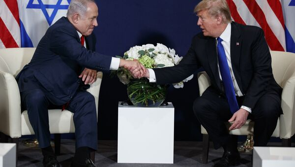 """This Jan. 25, 2018 file photo shows President Donald Trump meeting with Israeli Prime Minister Benjamin Netanyahu at the World Economic Forum in Davos. There's much to celebrate but plenty of cause for trepidation, too, as Trump and Netanyahu meet Monday, March 5, 2018 at the White House. For all his talk about brokering the """"ultimate deal"""" between Israelis and Palestinians, Trump's long-awaited peace plan has yet to arrive, even as Palestinians and other critics insist it will be dead on arrival - Sputnik International"""
