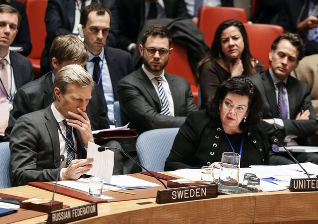 Karen Pierce at a Security Council Meeting. File photo.