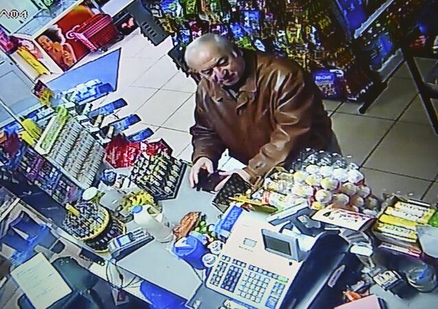 A still image from CCTV footage recorded on February 27, 2018 shows former Russian spy Sergei Skripal buying groceries at the Bargain Stop convenience store in Salisbury on February 27, 2018.
