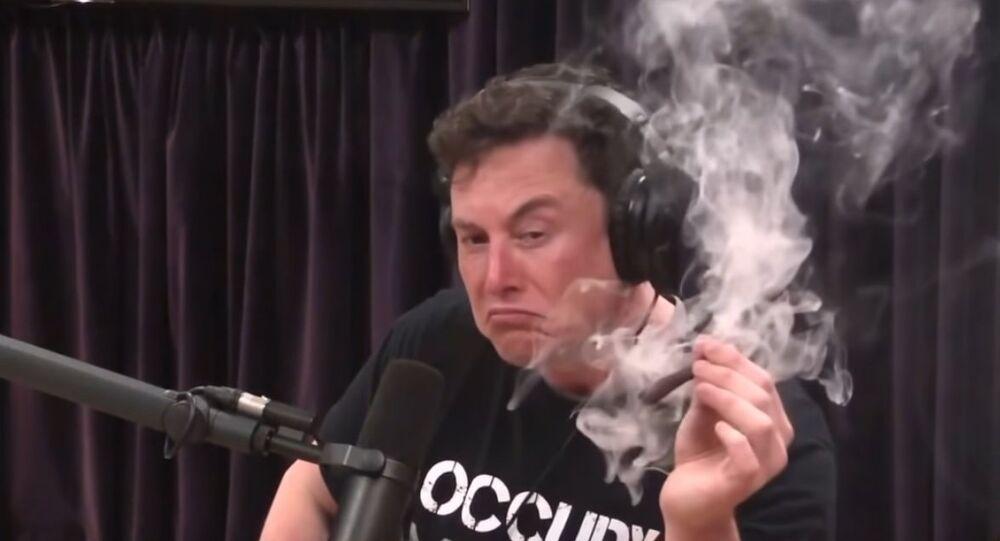 Elon Musk smokes a blunt with Joe Rogan