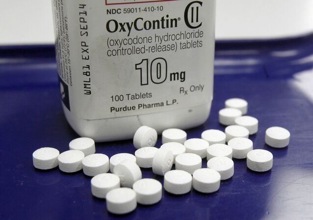 OxyContin pills arranged for a photo at a pharmacy.