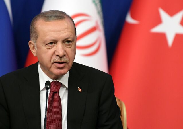 The president of Turkey Recep Tayyip Erdogan during the trilateral meeting between Turkey, Russia and Iran