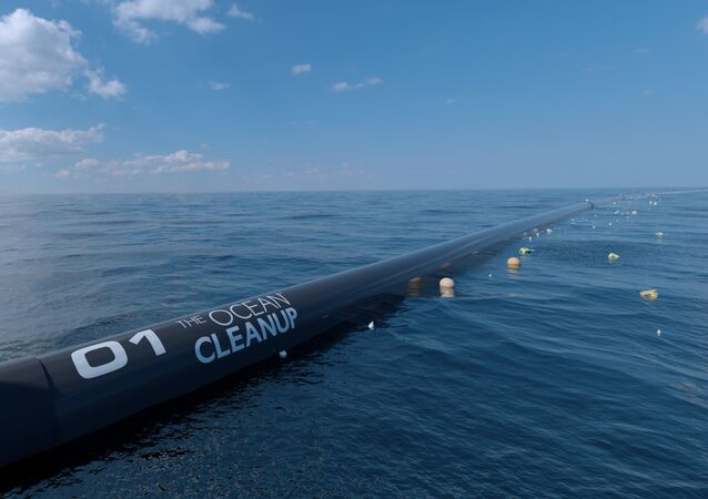 A digital image mock up of the Ocean Cleanup waterborne pollution technology.