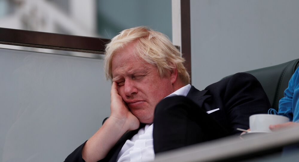 Britain's former Foreign Secretary Boris Johnson takes a nap whilst watching the England cricket team play India at The Oval cricket ground in London