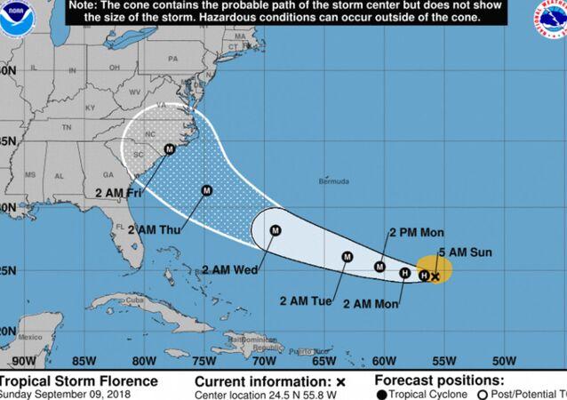 Hurricane Florence tracking toward US East Coast Sept. 9, 2018