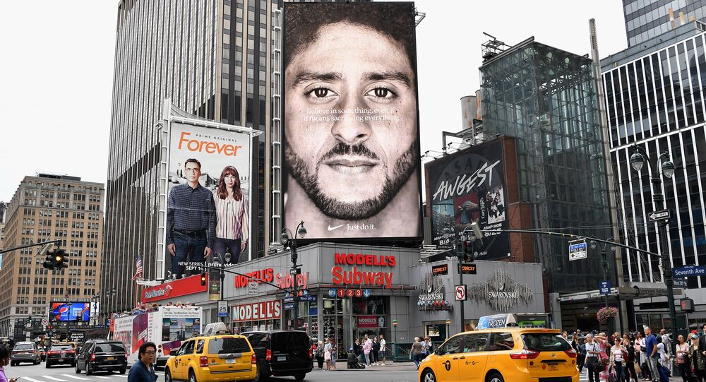 A Nike Ad featuring American football quarterback Colin Kaepernick is on diplay September 8, 2018 in New York City