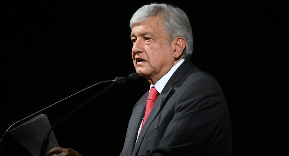 Andres Manuel Lopez Obrador speaks during the official announcement as a candidate for national elections, in Mexico City