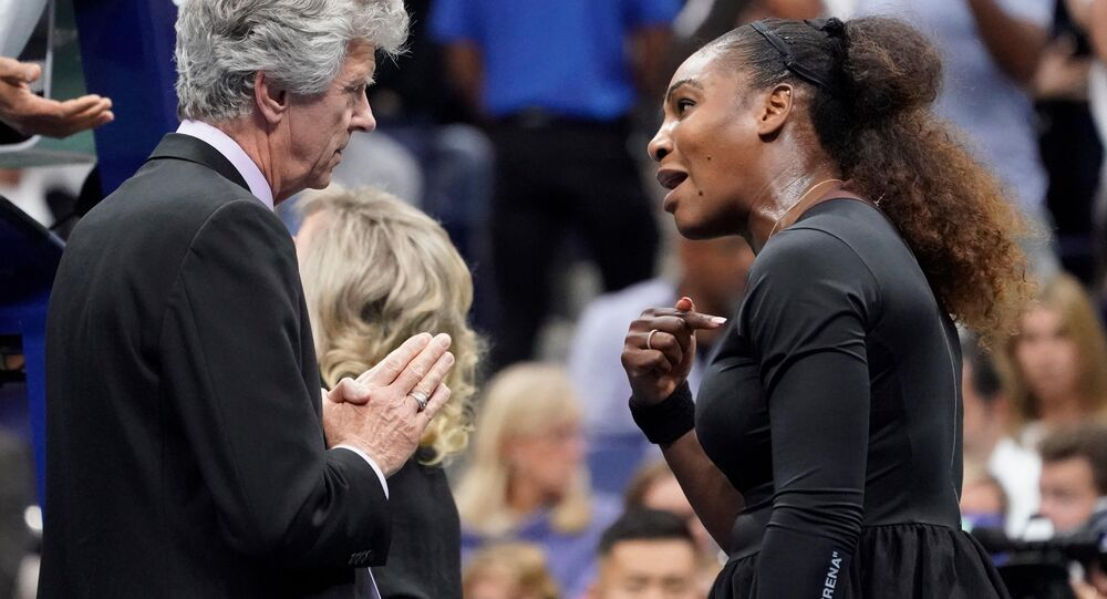 Sept 8, 2018; New York, NY, USA; Serena Williams of the USA argues with tournament referee Brian Earley while playing Naomi Osaka of Japan in the women's final on day thirteen of the 2018