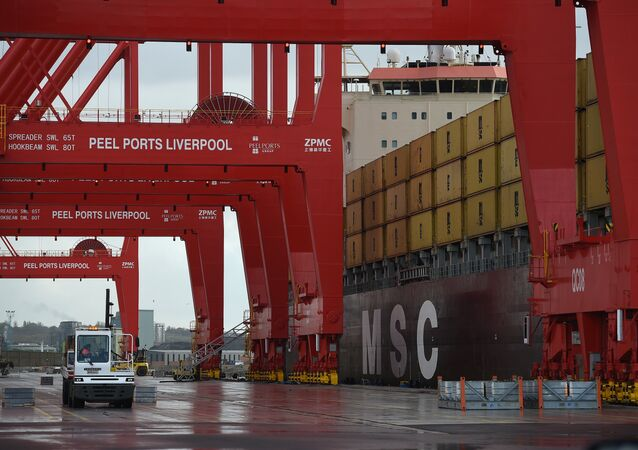 Containers are unloaded from a ship moored up in the new Peel Ports container terminal in Liverpool on November 4, 2016