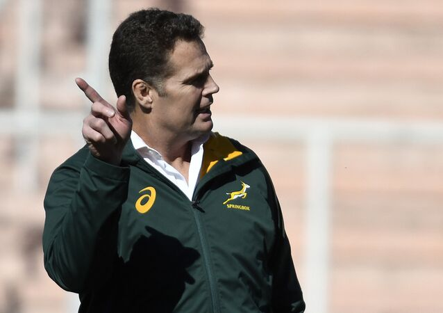 South Africa's Springboks coach Rassie Erasmus gestures during the Rugby Championship 2018 test match against Argentina, at Malvinas Argentinas stadium in Mendoza, some 1050 km west of Buenos Aires, Argentina on August 25, 2018