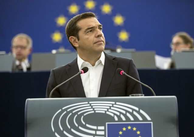 Greek Prime minister Alexis Tsipras debates the future of Europe with parliament members and commissioners at the European Parliament in Strasbourg, eastern France, Tuesday Sept.11, 2018.