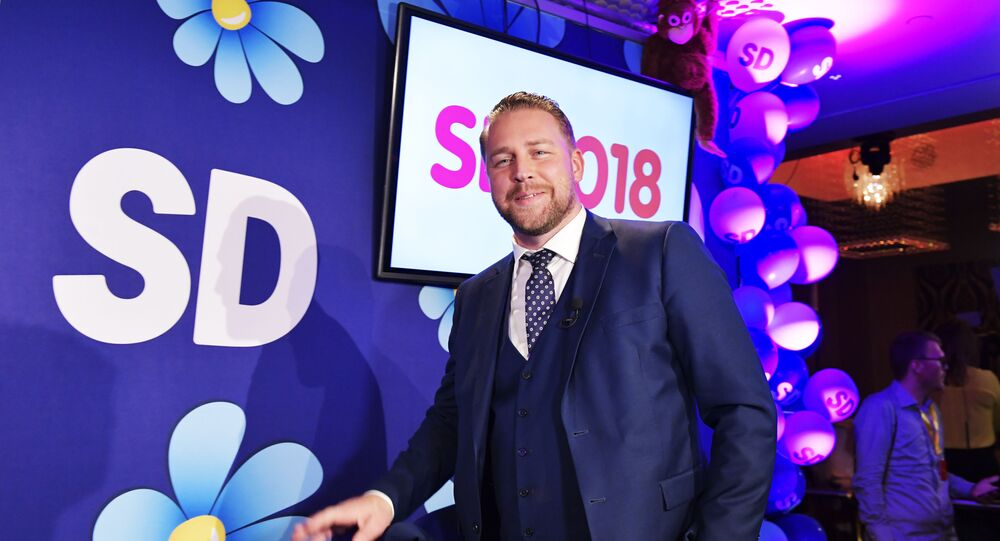 Swedish Democrats group leader Mattias Karlsson is pictured during the election evening in Stockholm on September 9, 2018