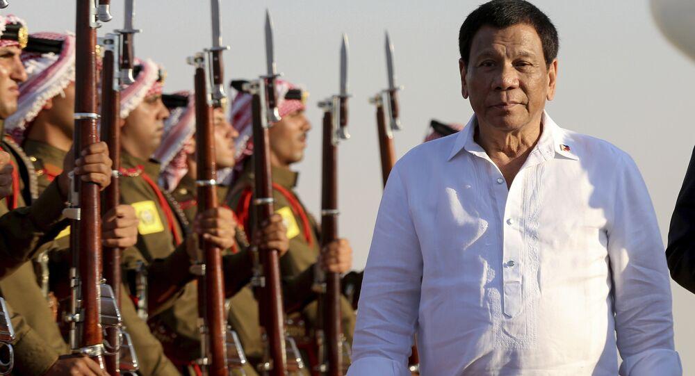 Philippine President Rodrigo Duterte arrives at the Queen Alia Airport in Amman, Jordan, Wednesday, Sept. 5, 2018.