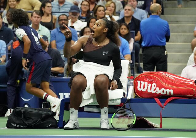 Serena Williams of the US reacts against Naomi Osaka of Japan during their Women's Singles Finals match at the 2018 US Open at the USTA Billie Jean King National Tennis Center in New York on September 8, 2018