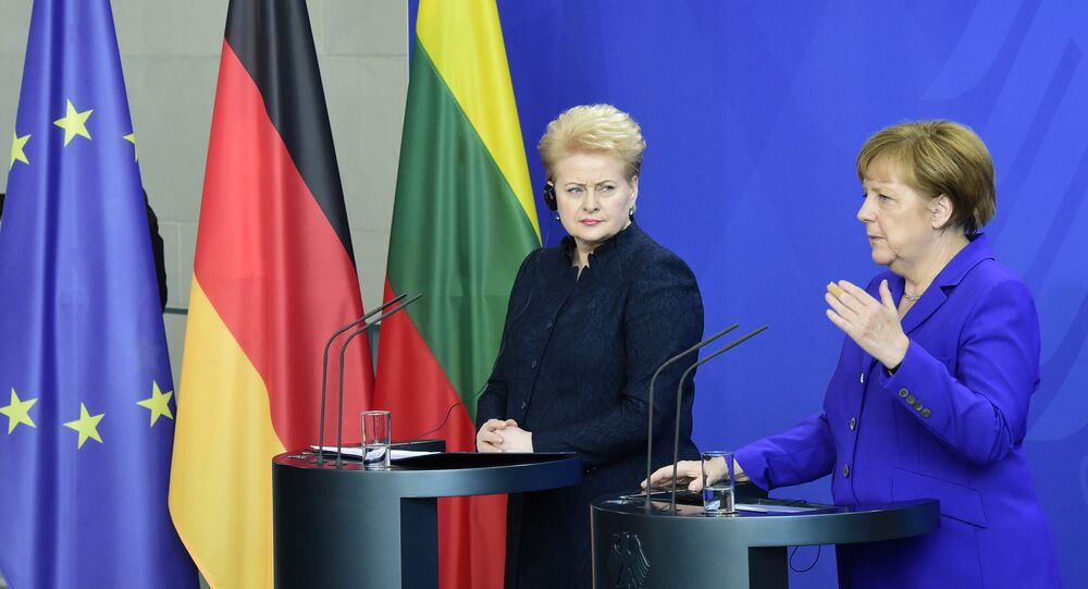 German Chancellor Angela Merkel and Lithuanian President Dalia Grybauskaite address the media after their meeting in Berlin on April 20, 2016
