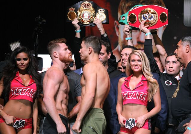 Boxers Canelo Alvarez (L) and Gennady Golovkin face-off during their weigh-in at the MGM Grand Hotel & Casino on September 15, 2017 in Las Vegas, Nevada