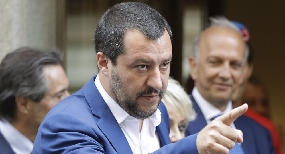 Italian Interior Minister and right-wing League leader Matteo Salvini, gestures as he arrives for a lunch at an hotel in Milan, Italy, Monday, July 2, 2018. The leader of the right-wing party in Italy's populist government told tens of thousands of supporters Sunday he wants to turn next year's European Parliament election into a referendum on immigration and job security