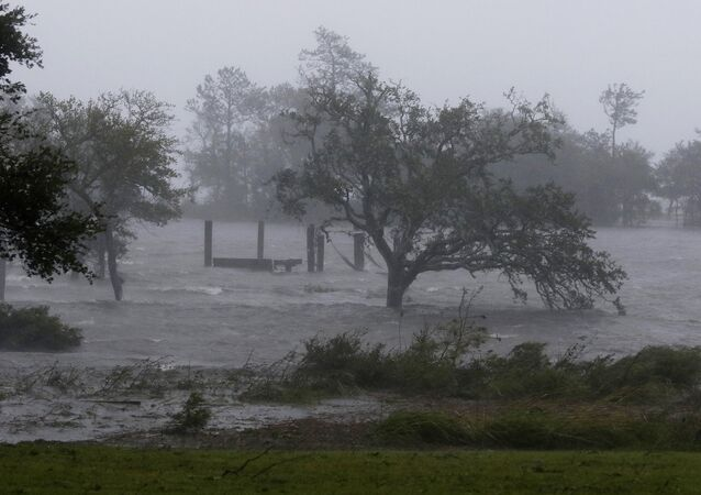 High winds and storm surge from Hurricane Florence hits Swansboro N.C., Friday, Sept. 14, 2018