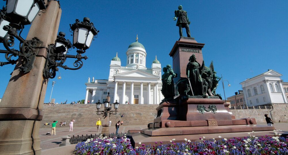 Finland. Helsinki. Monument to Emperor Alexander II on the Cathedral square.