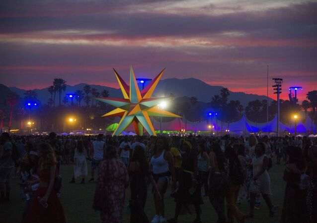 The sun sets over the Coachella Music & Arts Festival at the Empire Polo Club on Saturday, April 21, 2018, in Indio, Calif.