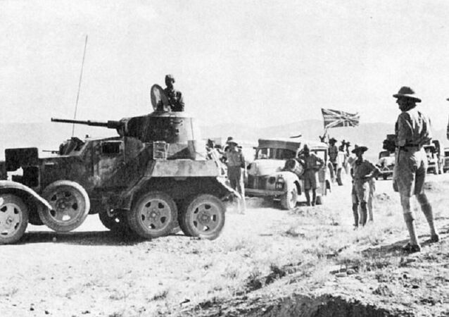 British supply convoy in Iran, headed by Soviet BA-10 armored vehicle