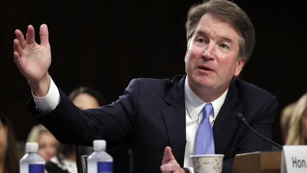 President Donald Trump's Supreme Court nominee Brett Kavanaugh testifies before the Senate Judiciary Committee on Capitol Hill in Washington, Thursday, Sept. 6, 2018, for the third day of his confirmation hearing to replace retired Justice Anthony Kennedy - Sputnik International