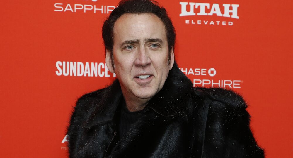 Actor Nicolas Cage poses at the premiere of Mandy during the 2018 Sundance Film Festival on Friday, Jan. 19, 2018, in Park City, Utah