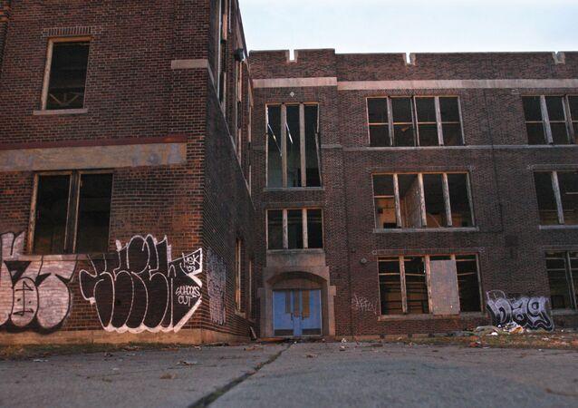 The former Sherrard school is seen in Detroit.