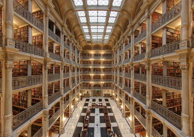 Interior of the George Peabody Library in Baltimore.