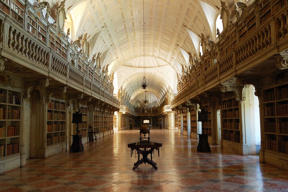 Library in the Mafra National Palace, Portugal.