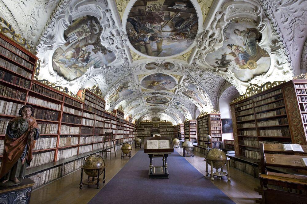 Strahov Theological Hall - Original Baroque Cabinets, Prague.